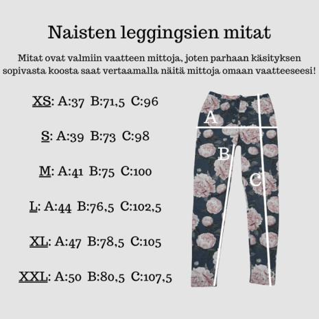 Naisten kotimaisten leggingsien mitat