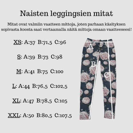 Kotimaisten naisten leggingsien mitat