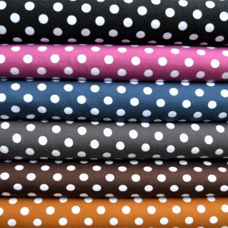Pallolliset kankaat: musta, kanerva, tummansininen, tummanharmaa, ruskea, okra
