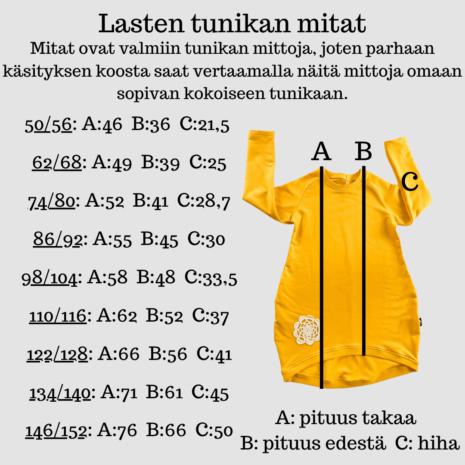 YellowQuu lasten tunikan mitat
