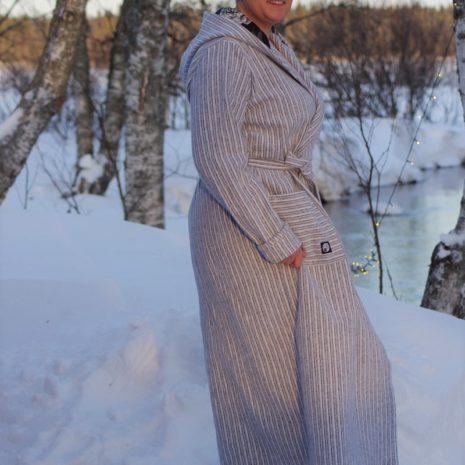 Aikuisten kotimainen saunatakki jätkäflanellista