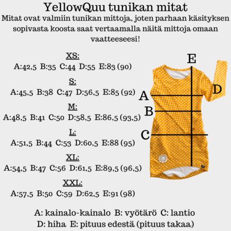 YellowQuu naisten tunikan mitat